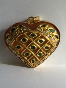 Pendant in 18 kt gold with a citrine, diamonds and emeralds (NO RESERVE PRICE)