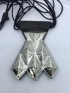 "Sterling Silver Tuareg ""Khomeissa"" Amulet Talisman On Leather"