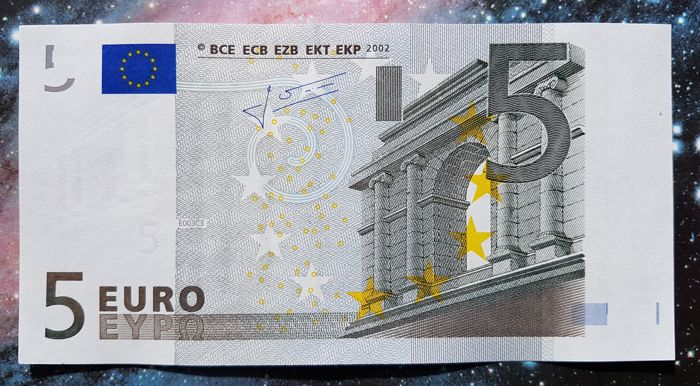 European Union - The Netherlands - 5 euros 2002 - Trichet - White stripe on obverse missing Hologram - Error Note