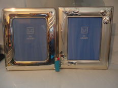 Two large silver plated photo frames, Silver title 925, late 20th century, Italy