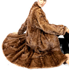 Elaborate mink fur coat, caramel brown