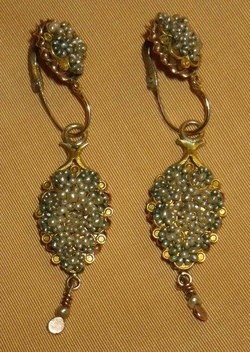 Ladies girandoles with micropearles and gold (9  ct) ca. 1890-1905 -  Art  Nouveaux