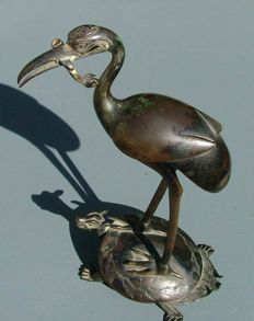Japanese patinated bronze crane on turtle - Japan - mid 20th century