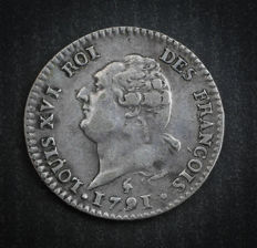 France - Louis XVI (1774-1793) - 15 sols with génie 1791 A (Paris) - Silver