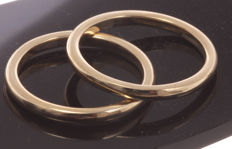Set 14 kt gold stacking rings 2 mm convex smooth undecorated - Ring sizes: 16.25