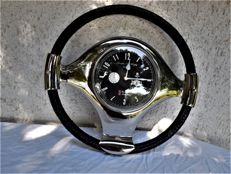 Large boat wheel/steering wheel/leather wrapping with chrome parts and clock, mark Franklin & Murphy/London - fully functional