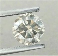 2.06 carat - VS2 clarity - Natural Fancy Greyish Yellow - Round Brilliant Cut - UNTREATED - AIG certificate -Cert # Engraved On Girdle.