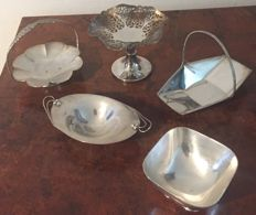 5 silver plated Art Deco dishes.