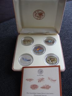 Cook Islands - Dollars 2008 'The Australian Fauna Silver Coin Series' (5 pieces) in case