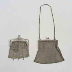 Two silver pouches, 'chain mail' model, circa 1900