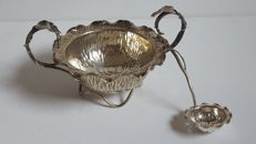 Silver plated - sugar bowl with puder sugar spoon