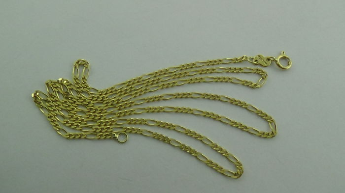 14 kt Gold Figaro Necklace - Length: 50 cm