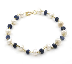 Yellow gold, 18 kt - Bracelet - Sapphires - Pearls - Length: 19.00 cm