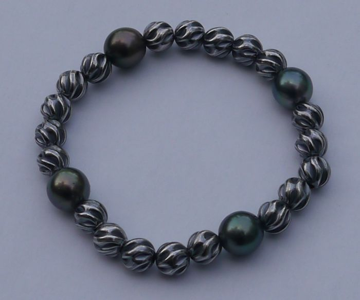 Armband in 925 zilver met 4 authentieke Tahiti parels van 11 mm diameter