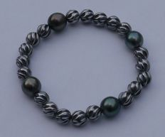 Bracelet in 925 silver with 4 authentic Tahiti pearls of 11 mm of diameter