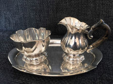 Silver cream set, 3 pieces, D.Aubert, The Hague, 20 century.