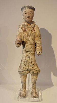 A Painted Pottery Warrior, Han Dynasty, China, with TL test, H 49,5 cm.