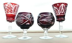 Lot of 4 handmade ruby red cut crystal glasses - Clichy, France - ca. 1870-1900