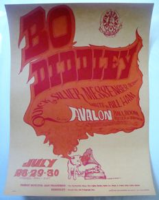"Bo Diddley / Quicksilver Messenger Service Family Dog Avalon Poster ""Voice of Music"" San Francisco 1966"