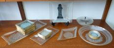 Vintage Mid Century glass plates and dishes with lace design - 30 pieces
