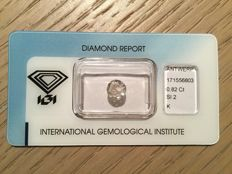 0.82 ct brilliant cut diamond, K, SI2