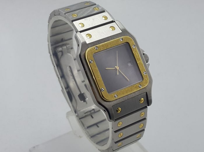 Cartier Santos Galbee Automatic Gold/Steel Burgundy Dial Unisex Watch