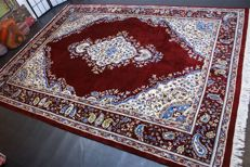 Handwoven original Indian carpet oriental Kerman approx. 348 x 258cm. India, recently cleaned, in great condition
