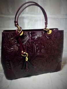 Handbag in genuine printed Ruga leather - Fior di Loto - Florence, Italy