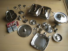 Large lot with silver plated and stainless steel serving tableware, Netherlands England Germany