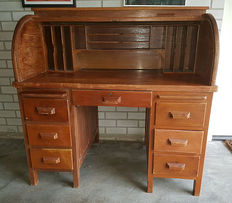 Solid wooden handmade secretary desk with roller shutter, first half 20th century