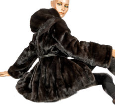 Exclusive black brown Saga Mink fur parka mink jacket with hood