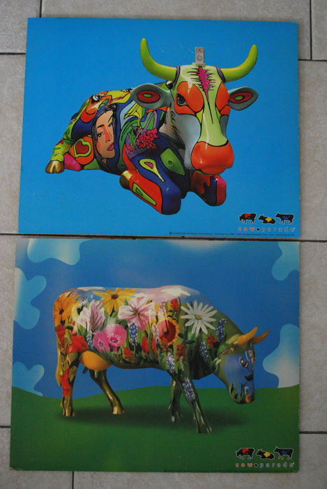 Cow Parade - two original Cow Parade displays on MDF-board - MMI