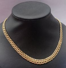18 kt gold double snake chain necklace
