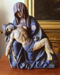 Attributed to the Master of Ottobeuren - Linden wooden Pieta carved in full relief and polychromed - Germany - early 16th century