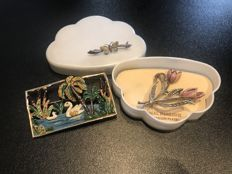 2 Enameled 1960's Brooches:  silver butterfly and swan in a lake