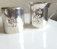 Silver plated money box and cup with Disney image