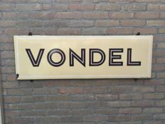 "Vintage enamel Belgian advertising board for ""Vondel"""