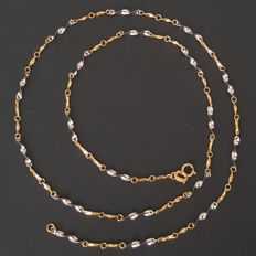 Two-tone necklace in 18 kt white and yellow gold - Length: 50 cm