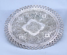 Tray for Serving Candy & Sweets -Silver 84-Crochet - Hand Engravings - Persia - ca. 1920