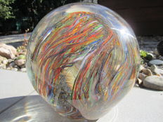 Murano - Ball sculpture with coloured rods inclusion (11 kg)