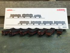 Märklin H0 - 46026 - Seven piece set of coal wagons of the DB, with real coals