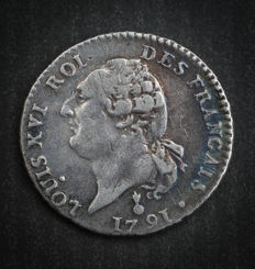 France - Louis XVI (1774-1793) - 15 sols with génie 1791 AA (Metz) - Silver
