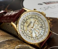 CALVANEO 1583 – Defcon Diamond Gold / Champagne – men's chronograph with 8 diamonds. New.