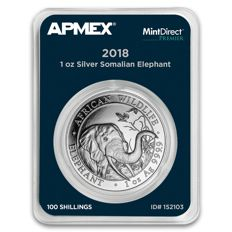 2018 Somalia 1 oz Silver Elephant (MintDirect® Premier Single)