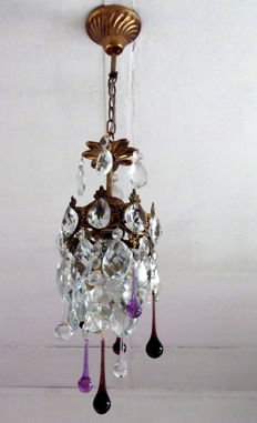 Single Brass and Crystal Chandelier, 21st century