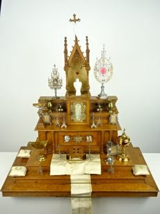 Antique home altar with many accessories - France - c. 1930