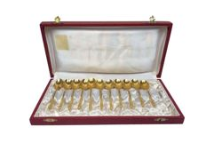 11 heavy gilded teaspoons in case - France - Mid 20th century