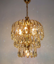 Brass Good Quality Rainbow Crystal Chandelier, 20th century