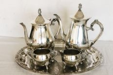 Lovely Vintage Ornate Silver Plated 4 Piece Teaset & Falstaff Tray