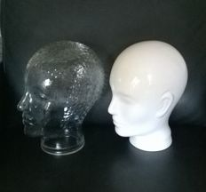 Two shop window heads - glass and ceramics - two pieces - 3rd quarter 20th century